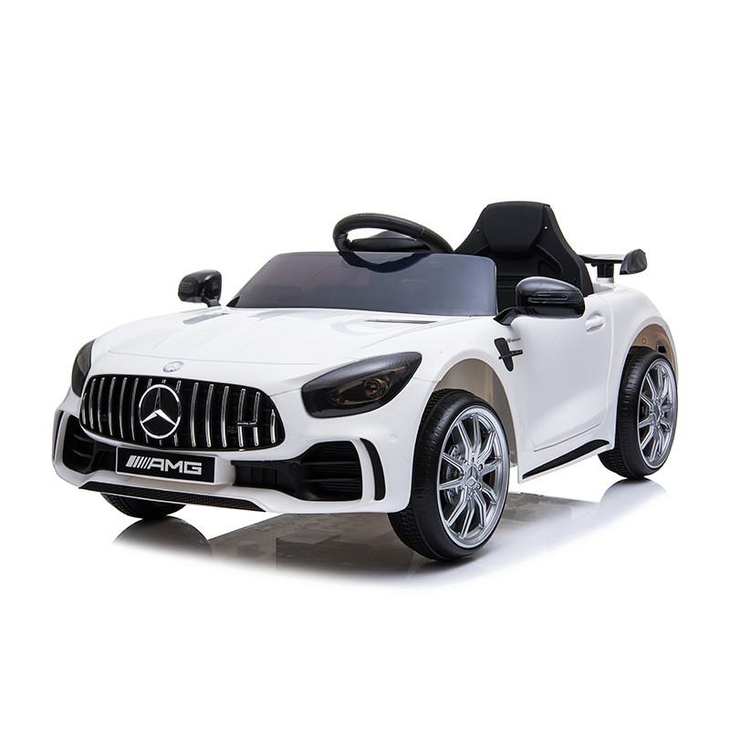 מרצדס GTR ספורט לבנה ממונעת לילדים עם שלט וגלגלי גומי אמיתיים 12 וולט