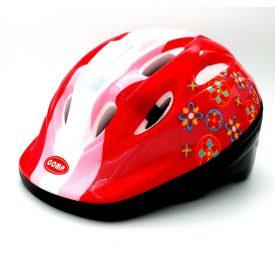COMP STAR – קסדת אופניים בטיחותית לילדים – אדום פרחוני