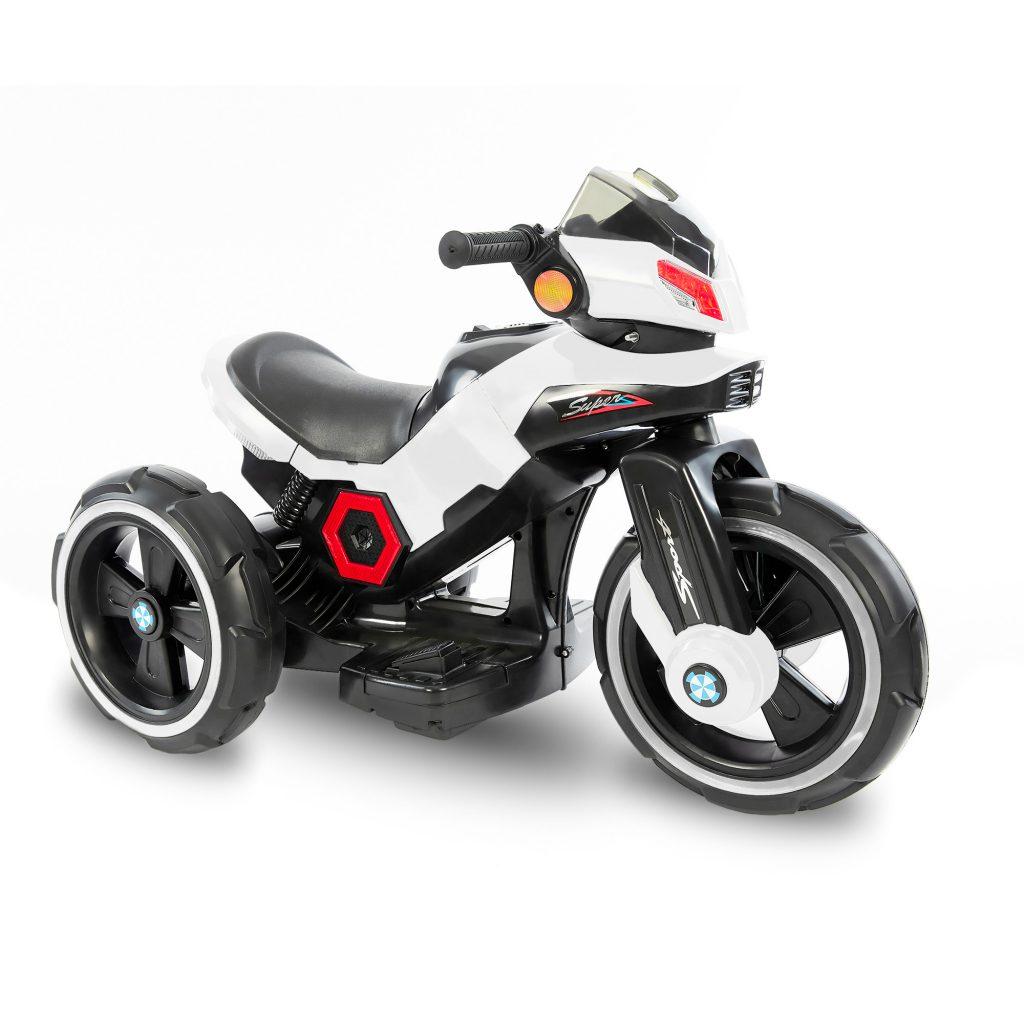 אופנוע 3 גלגלים ממונע לילדים  6 וולט 2 מנועים לבן