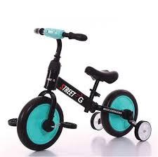 אופני איזון 2 ב-1 FUNWHEEL עם גלגלי עזר מתקפלים ופדלים כחול