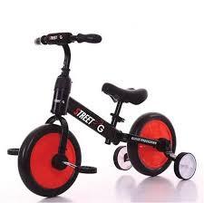 אופני איזון 2 ב-1 FUNWHEEL עם גלגלי עזר מתקפלים ופדלים אדום
