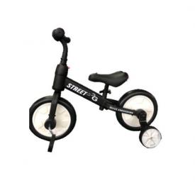 אופני איזון 2 ב-1 FUNWHEEL עם גלגלי עזר מתקפלים ופדלים שחור לבן