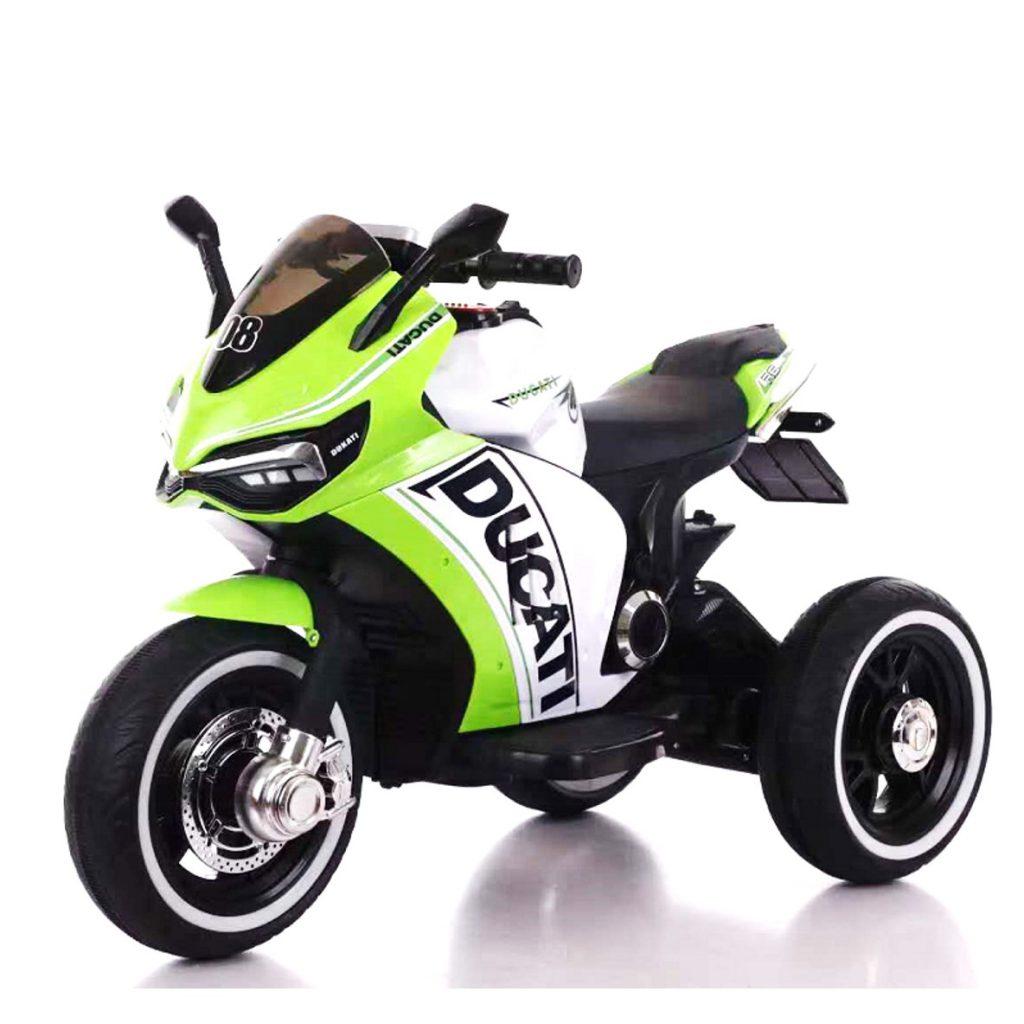 אופנוע 3 גלגלים דוקאטי ממונע לילדים 6 וולט 2 מנועים ירוק