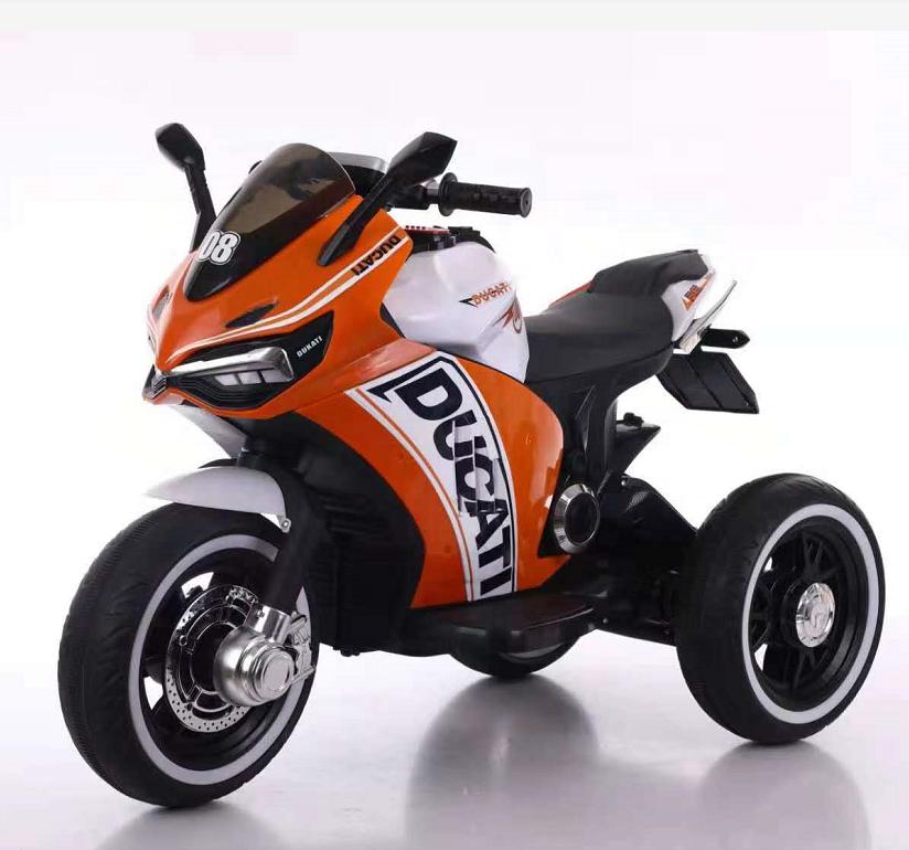 אופנוע 3 גלגלים דוקאטי ממונע לילדים 6 וולט 2 מנועים כתום