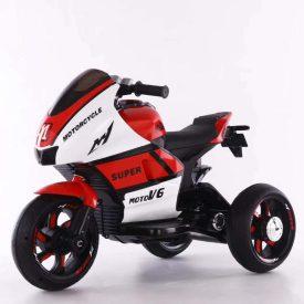 אופנוע 3 גלגלים מיני רייסר ממונע לילדים 6 וולט 2 מנועים אדום