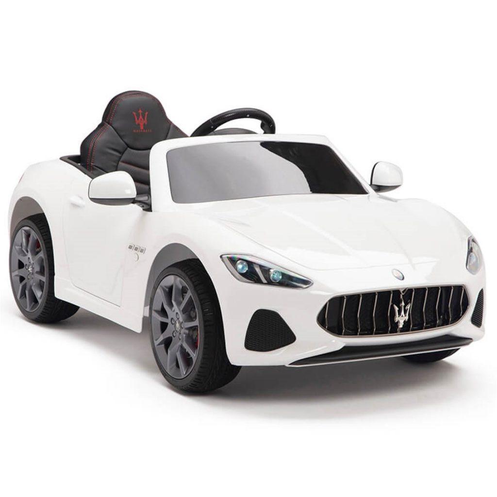 מזראטי S302 ספורט לבנה ממונעת לילדים עם שלט וגלגלי גומי אמיתיים 12 וולט