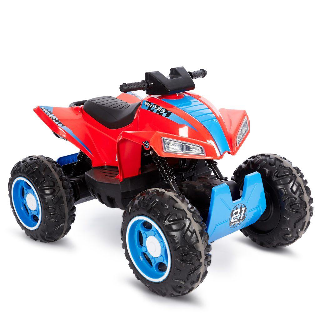 טרקטורון ממונע לילדים עם גלגלי גומי 12 וולט אדום